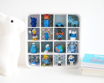 Imagier blue box - kids decor - Diorama - frame 3D - birthday gift - unique Creation