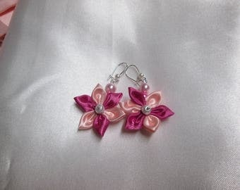 Earring satin pale pink and fuchsia