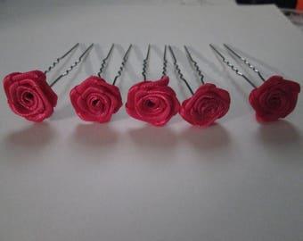 5 hair pins, hair clip pink satin for wedding