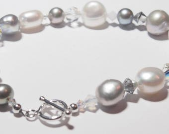 Handmade Occasion Bracelet - Swarovski Crystals & Fresh-Water Pearls