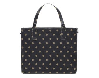 Ladies Large Reusable shopper- Oilcloth Work tote bag- Zip shopping bag - Oil cloth Laptop computer briefcase - Polka dot bag - Waterproof
