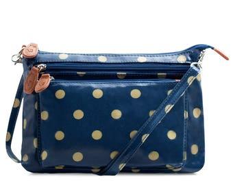 Multi Pocket Crossbody bag - Ladies Purse Polka dot bag - Oilcloth bag- Satchel - Oil cloth Woman Handbag- Laminated cotton - Waterproof