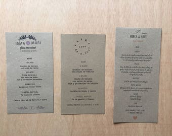Wedding Menu - Kraft paper 200g