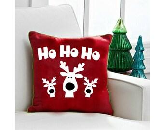 Reindeer's 3  Ho ho ho  Christmas  PILLOW design  SVG DFX  Cut file  Cricut explore file Wood sign Decal