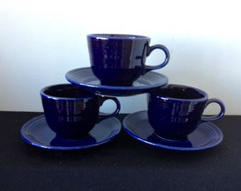 Set of 3 Contemporary Cobalt Fiestaware Cup and Saucer Sets