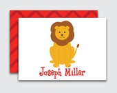 Personalized Enclosure Cards for Kids / Lion Name Cards /Safari Calling Cards for Boys and Girls / Birthday Gift Tags (Item #1708-043CC)