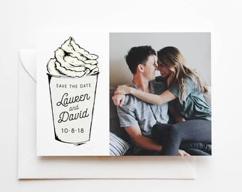 Printed Save the Date Cards with Photo - Coffee Lover - Coffee Addict - Latte Save-The-Date - Premium Quality Cards - White Coffee Cup Card