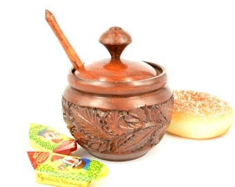 Sugar Bowl, Kitchen Canisters, Wooden Sugar Bowl, Sugar Bowl Made Of Wood,