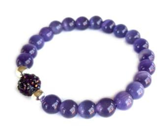Purple Cat's Eye Beaded Bracelet