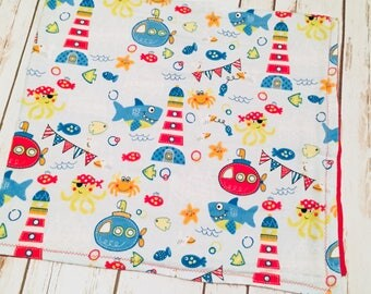 Kids Themed Nautical Flannel Blanket