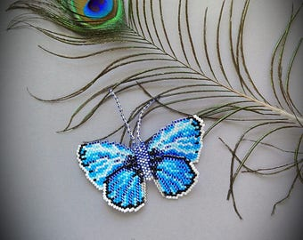 Handmade beaded butterfly brooch, blue butterfly, cute butterfly