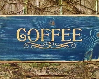 coffeedistressed country rustic decorative hand painted wooden - Distressed Cafe Decor