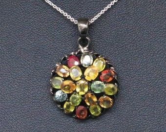 4CTW Genuine Saphires Black Sterling Silver Pendant 5.7g 925 Pendant Necklace