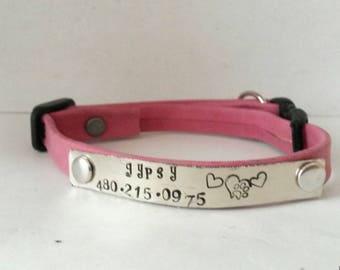 Cat collar - adjustable collar - soft leather collar - breakaway collar - puppy collar - small pet collar - pet id collar - pet supplies