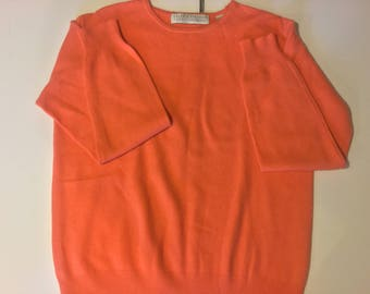 Cashmere,Two Ply Cashmere,Vintage Clothing,Size M Cashmere Pullover,Coral Cashmere Sweater