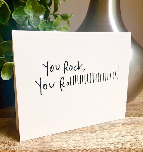 You rock card, Handmade hello car, Thank you card, handleterred thank you card, Just saying hello, rock n roll card, Blank thanks note,