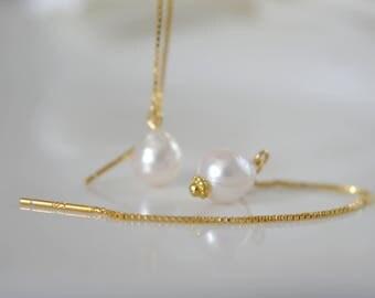 Baroque Akoya earrings Durchzieher earrings earring box chain 925 gold plated