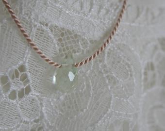 10mm aquamarine Briolett on silk chain minimalist natural beauty