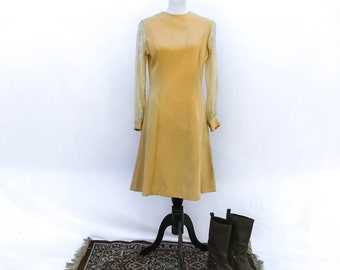 Vintage 1960s shift dress with sheer sleeves