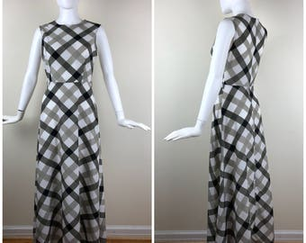 Vintage Womens Sleeveless Diagonal Plaid Maxi Dress Gray, Black, White and Tan | Size S