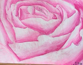 Large rose-watercolor on watercolor paper