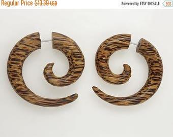 on sale Coconut Curls Fake Gauges Earrings - Brown Wood - Free Shipping