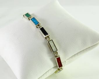 Inlaid Sterling Silver Bracelet 7 1/4""