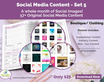 Social Media Images - Content for Clothing / Boutique (SET 5) -- 57+ original images with blank planner pages, checklists, tasks, and goals