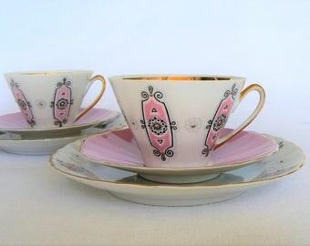 ESPRESSO Coffee Set Vintage/ Set of 2 Thin Porcelain Cups, Saucers & Dessert plates/ Ornamental decal, Gold Rim/ Latvia, 1970s