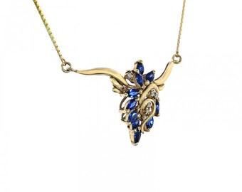 1.00 Carat Marquise Cut Sapphire Necklace 0.06 Carat Diamonds 14K Yellow Gold