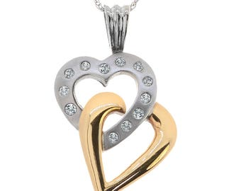 0.25 Carat Round Diamond Interlocked Hearts Pendant on Cable Link Chain 10K Two Tone Gold