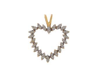0.40 Carat Round Brilliant Diamond Heart Pendant 10K Yellow Gold