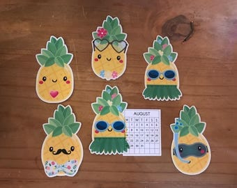 Pineapple die cuts. Choose from different characters or a August calendar. Use to Decorate planners, travelers notebook, memory or scrapbook