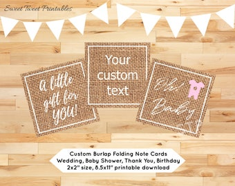 Mini note card small gift tag custom printable personalized name burlap party thank you wedding baby shower birthday favor tag greeting card