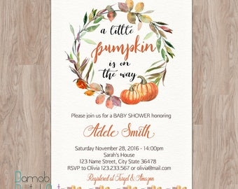 PUMPKIN BABY SHOWER Invitation, a little pumpkin baby shower invitations, baby shower invitation pumpkin printable, fall autumn invites