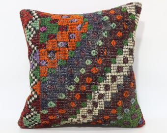 20x20 Handwoven Kilim Pillow Sofa Pillow 20x20 Anatolian Kilim Pillow Embroidered Kilim Pillow Throw Pillow Cushion Cover SP5050-2141