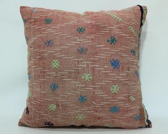 24x24 Decorative Kilim Pillow Sofa Pillow 24x24 Throw Pillow Floor Pillow Home Decor Handwoven Kilim Pillow Cushion Cover SP6060-1394