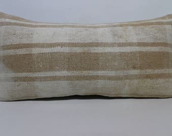 Handwoven Striped Kilim Pillow 12x24 Bohemian Kilim Pillow Floor Pillow Lumbar Kilim Pillow Naturel Kilim Pillow Cushion Covr SP3060-1421