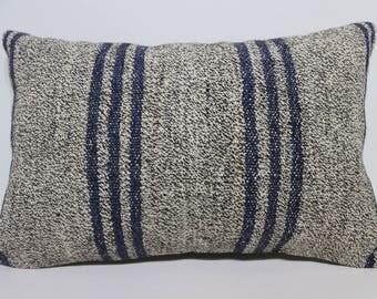Gray Kilim Pillow Navy Blue Striped Kilim Pillow Pillow Handwoven Kilim Pillow 16x24 Anatolian Kilim Pillow Cushion Cover SP4060-952