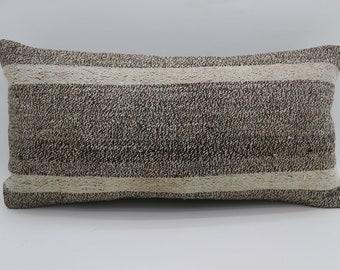 12x24 Pillow Cover Turkish Decorative Pillow White Striped Pillow Bohemian Pillow 12x24 Sofa Pillow Home Decor Gray Pillow  SP3060-1654