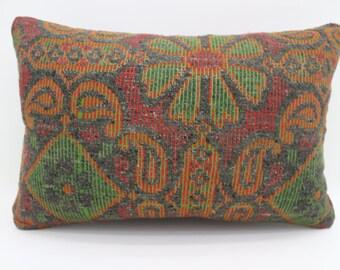16x24 Pillows Floral Pillow Geometric Kilim Pillow 16x24 Turkish Decorative Kilim Pillow Orange Pillow Red Pillow Throw Pillow SP4060-1438