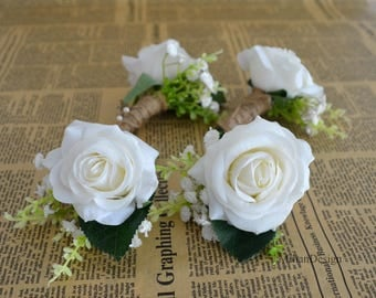 white rose boutonniere real touch flowers rose groom groomen silk flower boutonniere - Garden Rose Boutonniere