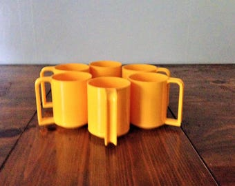 Vintage Per Alimenti Milano Stackable Sunny Yellow Cups Set of 6 Juice Beverage Set Retro Made in Italy Kitchen Drink Mug Plastic Stackable