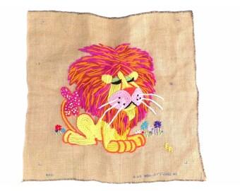 Vintage Burlap Lion Crewel Wall Hanging Wool-Art Studios 1970