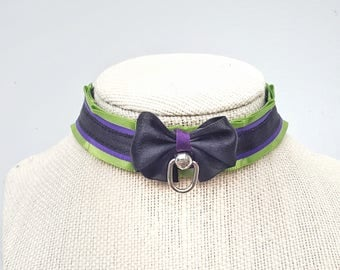 "Pet play, ddlg, bdsm 7/8"" green and purple collar"