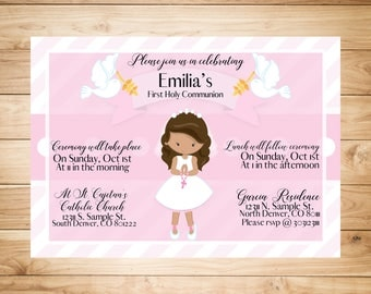 Pink First Holy Communion Invitation
