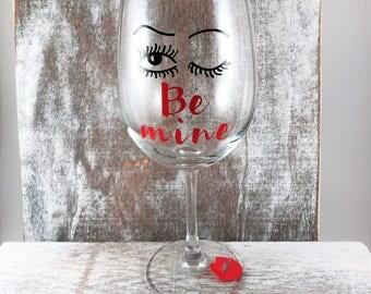 Wink Be Mine wine glass, valentines glass, wine glass, kiss wine glass, valentines gift,