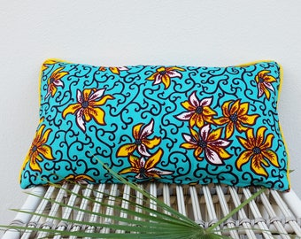 African Wax Print Cushion or Pillow Case / Blue with Yellow and Orange Flowers / Dutch Wax Print / Colorful