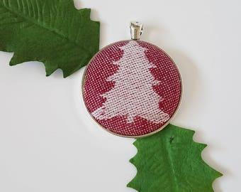 Large Pendant - Kokadi - Christmas - Wrap Scrap - Christmas Tree - Holiday Jewelry - Festive Jewelry - Tree