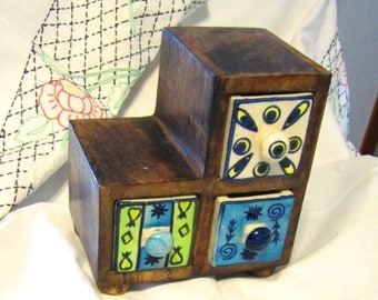 Vintage 3 Spices Drawer Apothecary Cabinet Ceramic Chest
